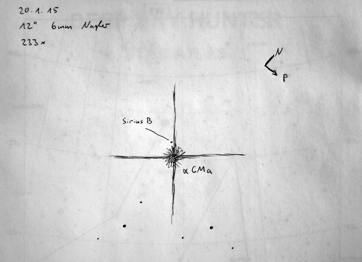 """Eine Skizze, auf die Schnelle am Teleskop gemacht: Sirius B stand am vorausgesagten Ort (Positionswinkel 282°) und 10,7"""" von Sirius A entfernt, knapp neben einem hellen Teleskopspike."""