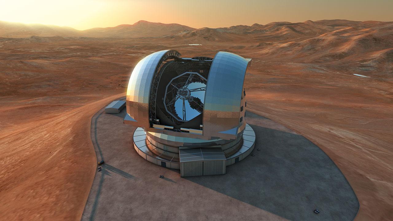 Computersimulation des E-ELT, das zukünftige größte optische Teleskop der Welt (Bild: ESO/L. Calçada)
