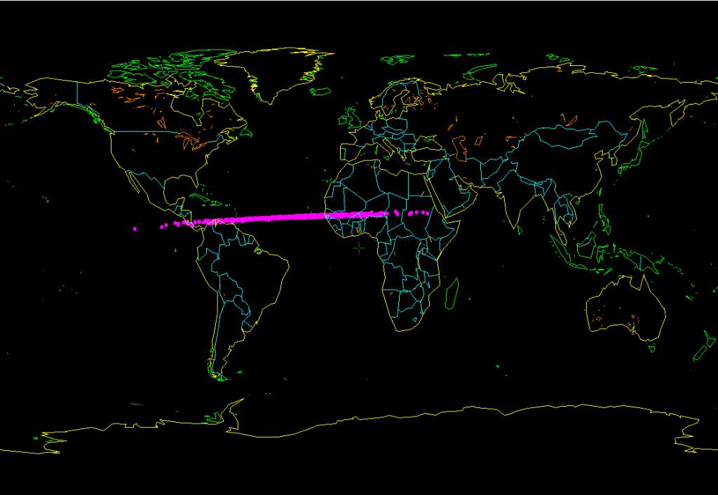 """Computersimulation des möglichen Impaktgebiets. Die pinken Punkte geben nicht die """"Bahn"""" des Asteroiden an, sondern markieren mögliche Eintrittsorte."""