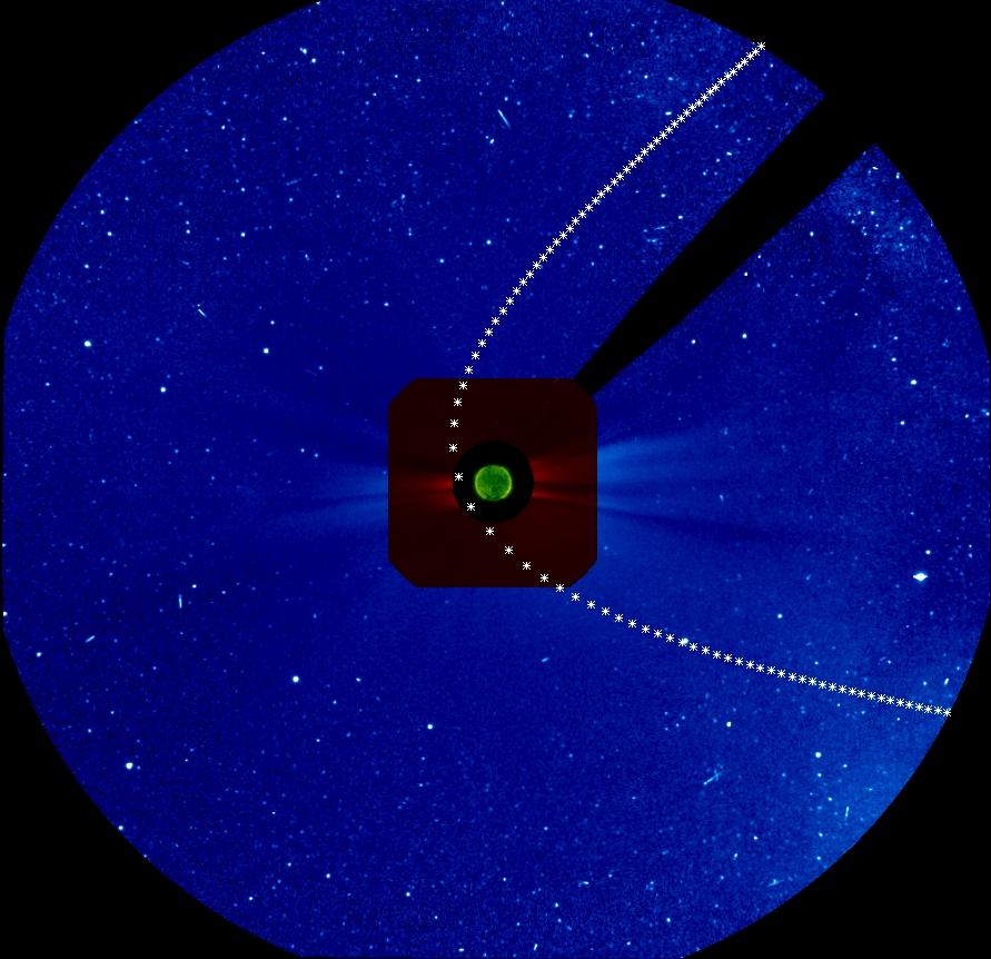 Die Positionen von ISON (Markierungen von Stunde zu Stunde) vom 27.-30.11. auf dem LASCO-Koronografen C3 (blau) und C3 (rot) des SOHO-Satelliten. ISON kommt von rechts unten in das Blickfeld und verlässt es rechts oben.
