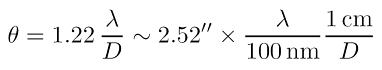 Optisches Auflösungsvermögen als mathematische Formel. Quelle: Spektrum Lexikon der Astronomie