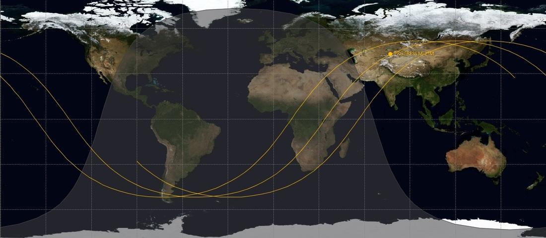 Pfad der Progress-Kapsel während des vom USSTRATCOM vorausgesagten Absturzzeitraums. Nur entlang der gelben Linie kann der Absturz erfolgen. Bildquelle: spaceflight101.com