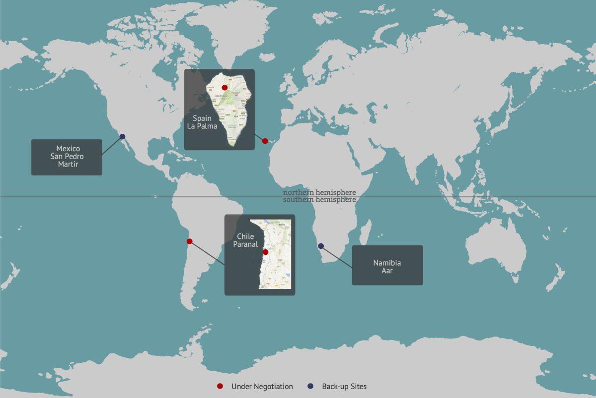 Kandidaten- und Backup-Standorte für das zukünftige CTA. Favorisiert seind La Palma und Chile. Bild: CTA