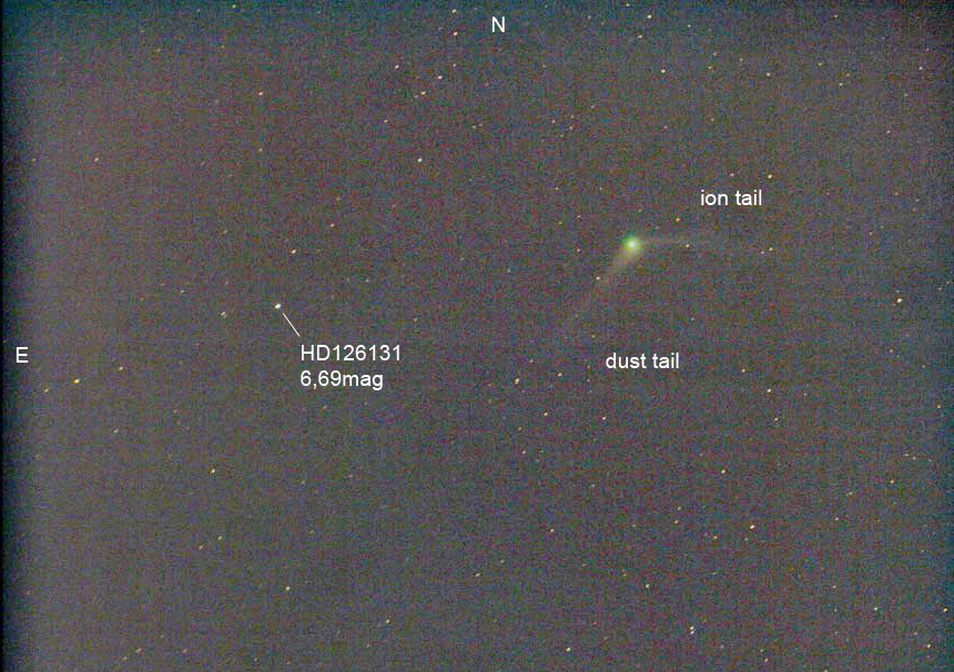 Das obige Bild genordet und kontrastverstärkt. Leider mangelt es an geeigneten Vergleichssternen, aber anhand des 6,7mag hellen HD126131 sieht es so aus, als habe der Komet tatsächlich rund 6,0mag. Die Sonne steht östlich des Kometen, der sich in nördlicher Richtung bewegt. So sind auch die beiden Schweife eindeutig zuzuordnen. Bild: Chris Schur