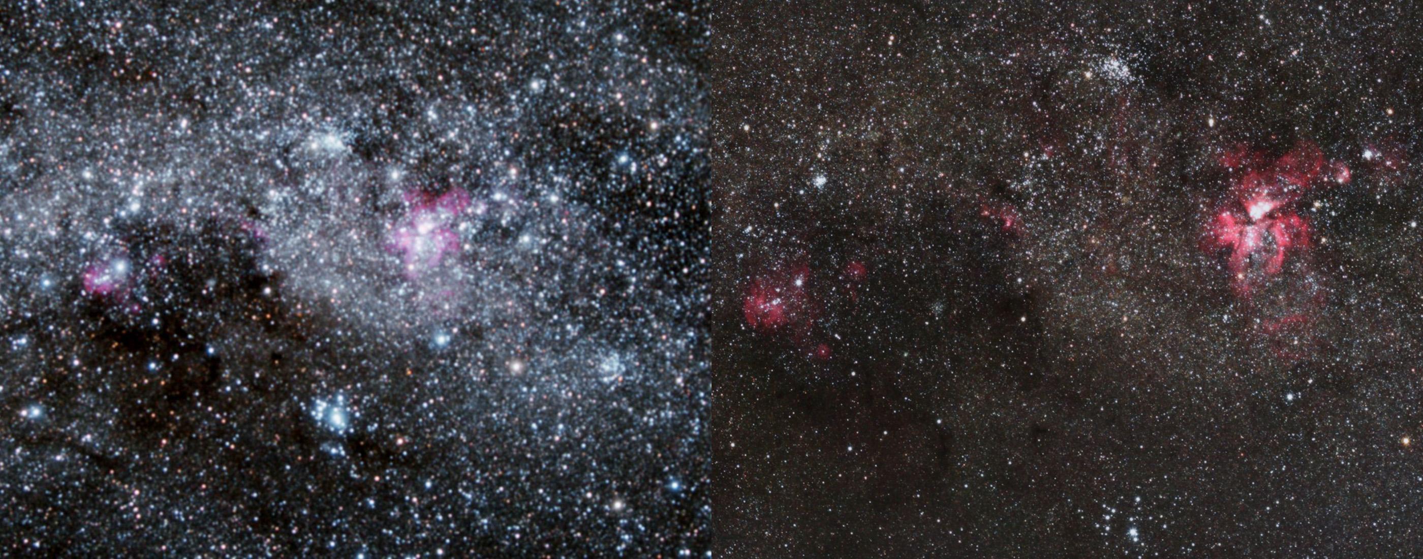 Was 50mm Brennweite bringen, mag dieser Vergleich zeigen: Dargestellt ist jeweils die Regien um den Eta-Carinae-Nebel, links aus dem Milchstraßenpanorama 2.0 (mit 17mm), rechts mit 50mm.