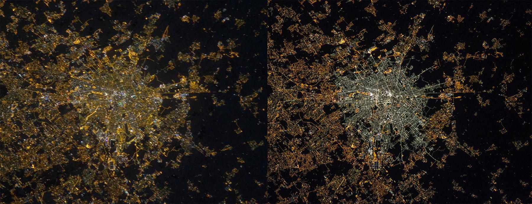 Mailand bei Nacht, 2012 (links) und 2015. Aufgenommen von den Austronauten André Kuipers (links) und Samantha Cristoforetti (rechts). Bildrechte: ESA/NASA
