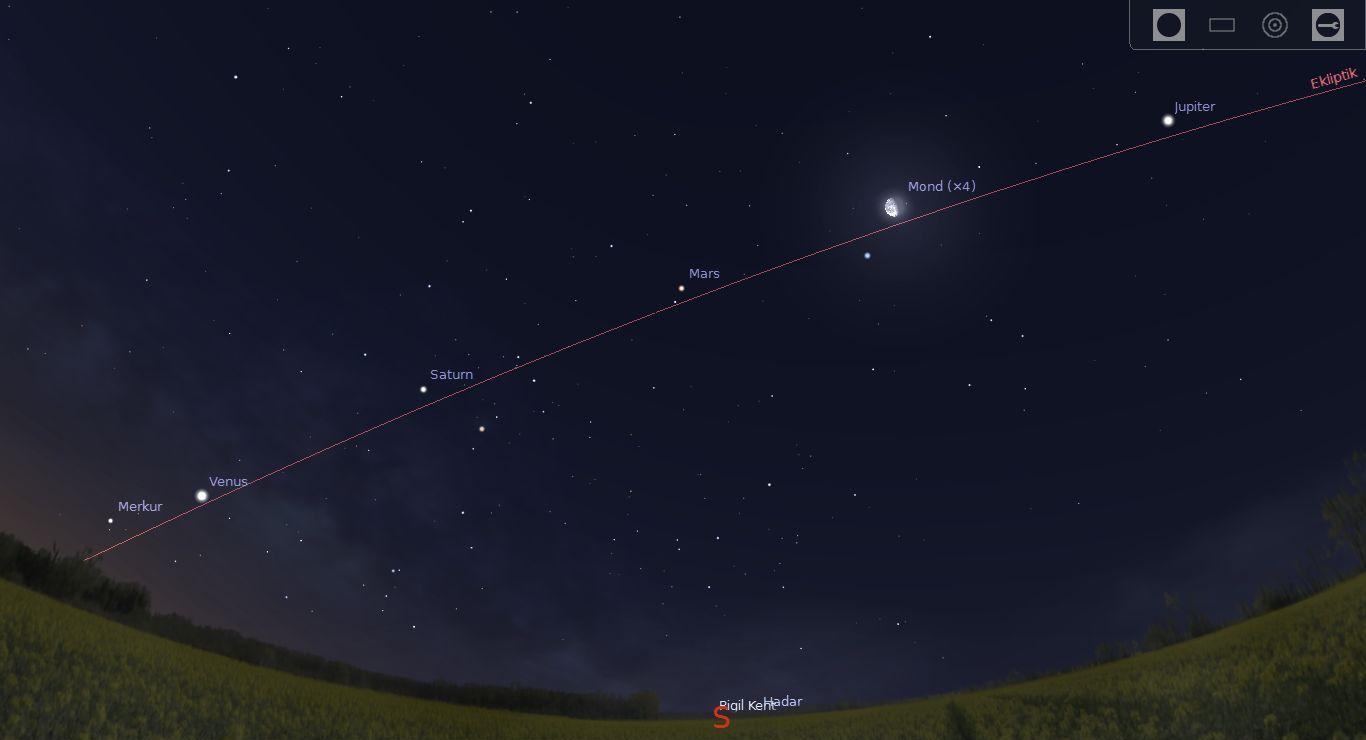 Planetenparade auf Teneriffa. Erstellt mit Stellarium.