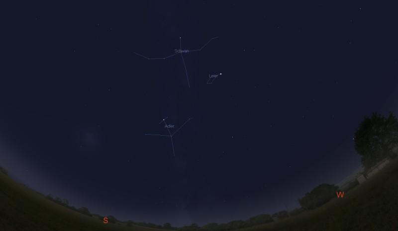 Das Sternbild Schwan ist zur Zeit (Ende Oktober / Anfang November) nach Sonnenuntergang leicht im Südwesten hoch über dem Horizont zu finden.