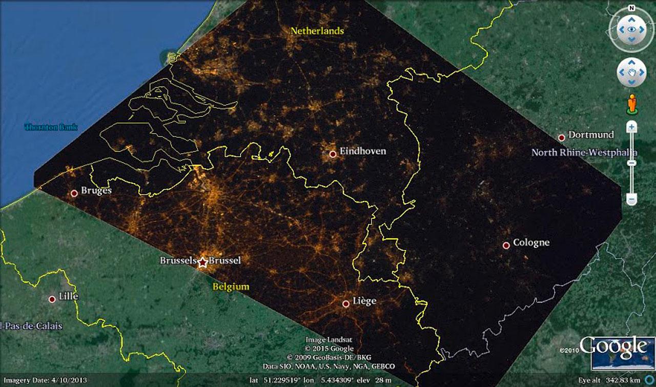 Georeferenzierte ISS-Aufnahme der Region Niederlande-Belgien-Deutschland. Bild: Cities at Night project/NASA/ESA