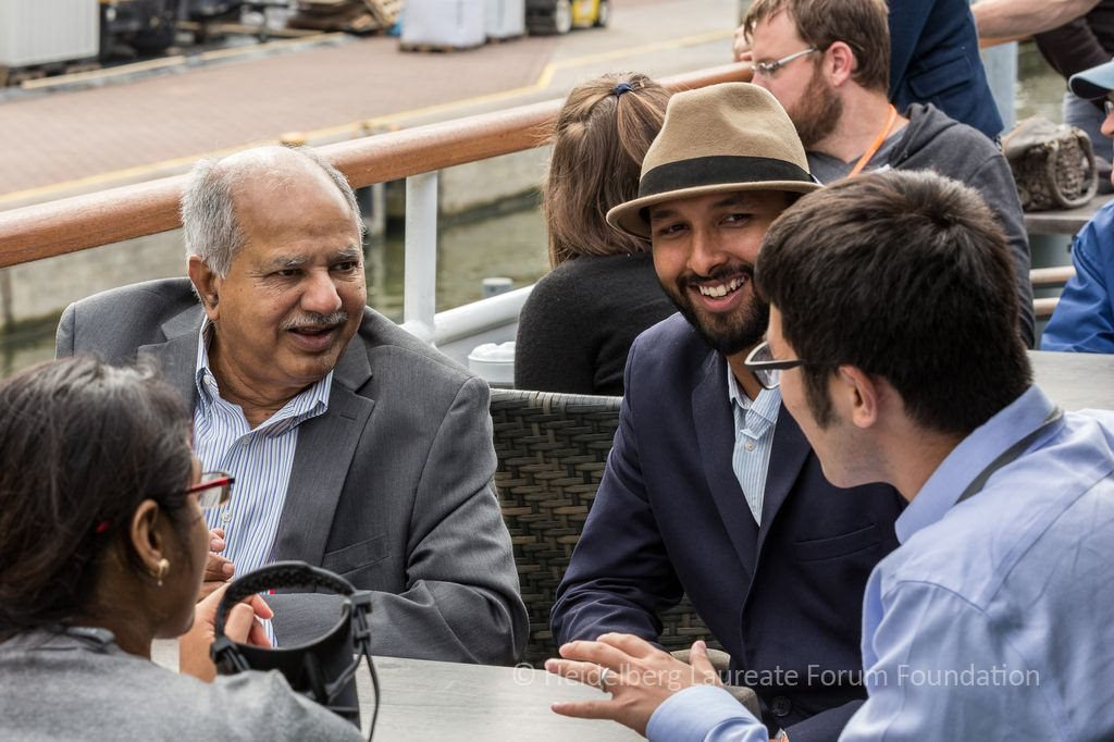 ACM Turing Award laureate with Ujwal Gadiraju and young researchers at 4th HLF