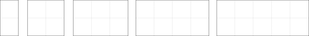 2 by n rectangles, for n=1 up to 5