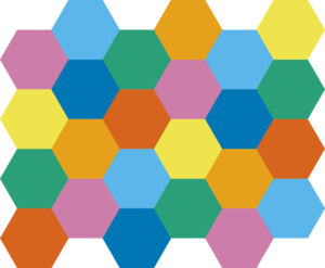 Colouring of a tessellation of hexagons using 7 colours - each hexagon is surrounded by a layer of hexagons two thick that don't share its colour