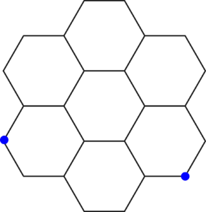 Seven hexagons arranged into a larger hexagonal shape