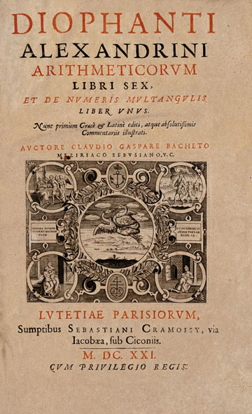 Title page of the 1621 edition of Diophantus' Arithmetica