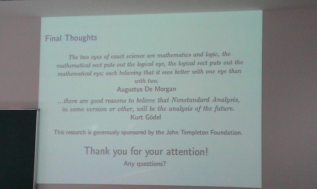 Abschlussfolie des Einführungsvortrags: Zitate von Augustus de Morgan und Kurt Gödel
