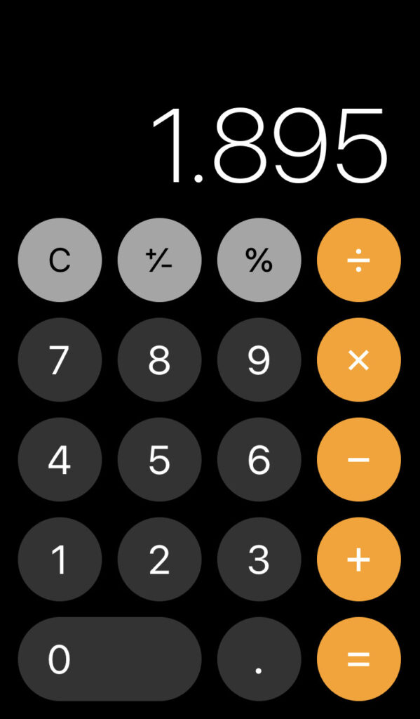 iPhone calculator screen showing 1.895