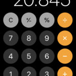 iPhone calculator screen showing 20.845