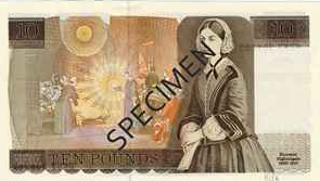 Old £10 note featuring Florence Nightingale; from the Bank of England website