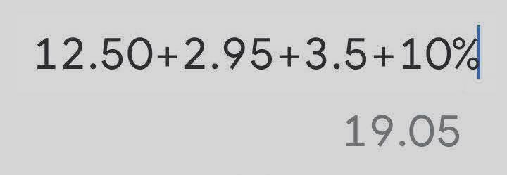 12.50+2.95+3.5+10% = 19.05