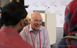 Sir Michael Atiyah in conversation with young researchers at HLF 2016