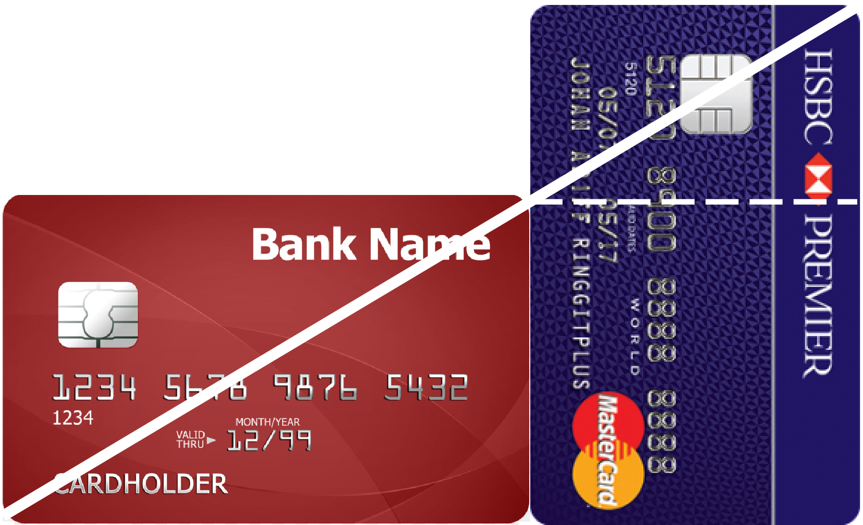 Two sample credit cards, placed horiztonally and vertically with their bottom edges aligned, and the diagonal marked.