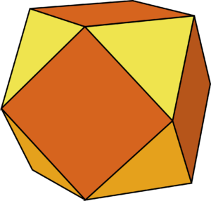 Cuboctahedron, made from squares and triangles