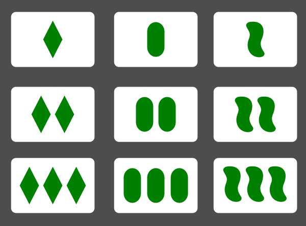 The nine filled in green cards, in a square