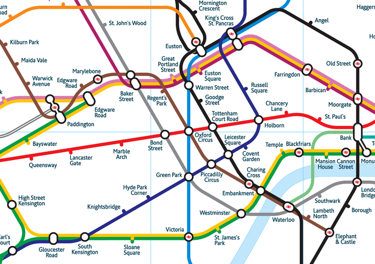 Two different versions of the London tube map