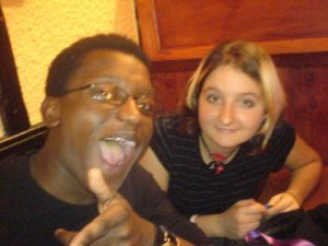 An embarrassing old photo of Katie and Jimi at university
