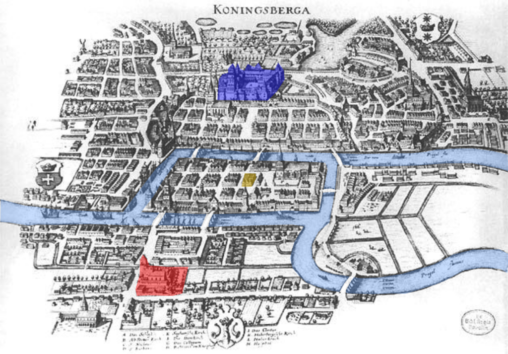 City of Königsberg, with a red castle on the south bank, a blue castle on the north bank and a yellow inn in the centre