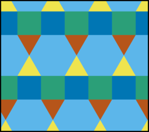 k-uniform tiling (where k=2) by squares, triangles and hexagons