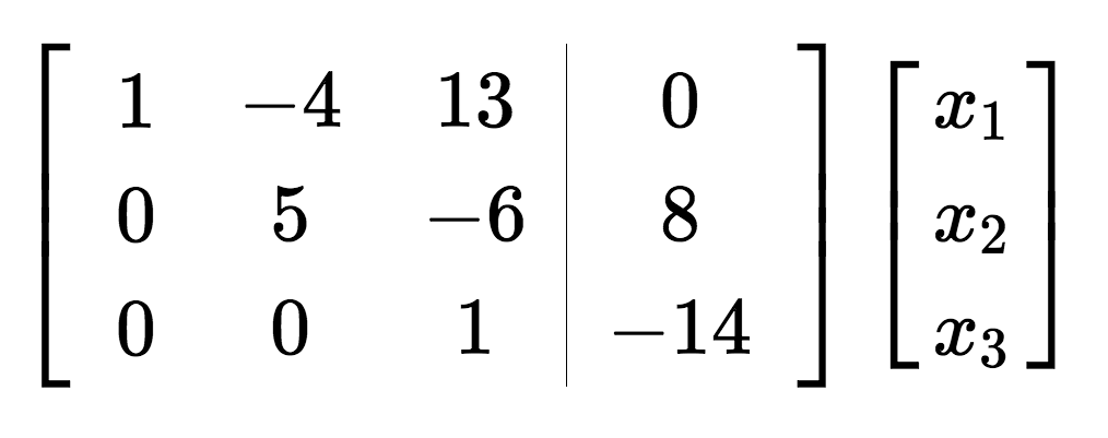 Example matrix in row echelon form
