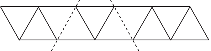 Ten triangles, with two folds marked