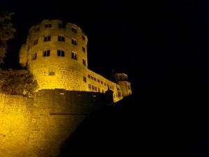 Schloss Heidelberg is lit up very nicely at night