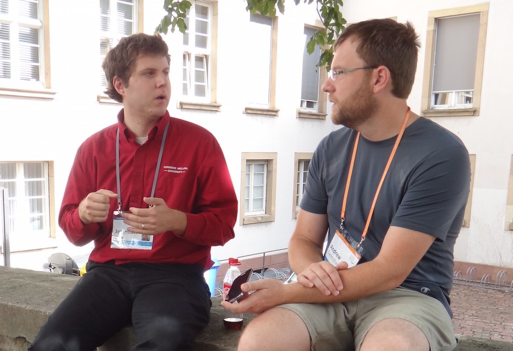 Jeremiah Blocki being interviewed by Andrew Carmichael at the Heidelberg Laureate Forum 2015. © Andrew Carmichael