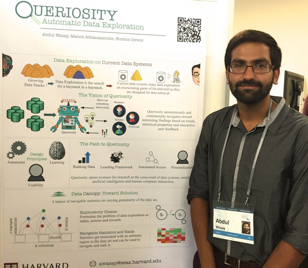 Abdul Wasay presenting the poster about Queriosity at #hlf15   Picture: B. Lugger