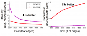 Plots of efficiency and robustness in pruned and grown graphs.