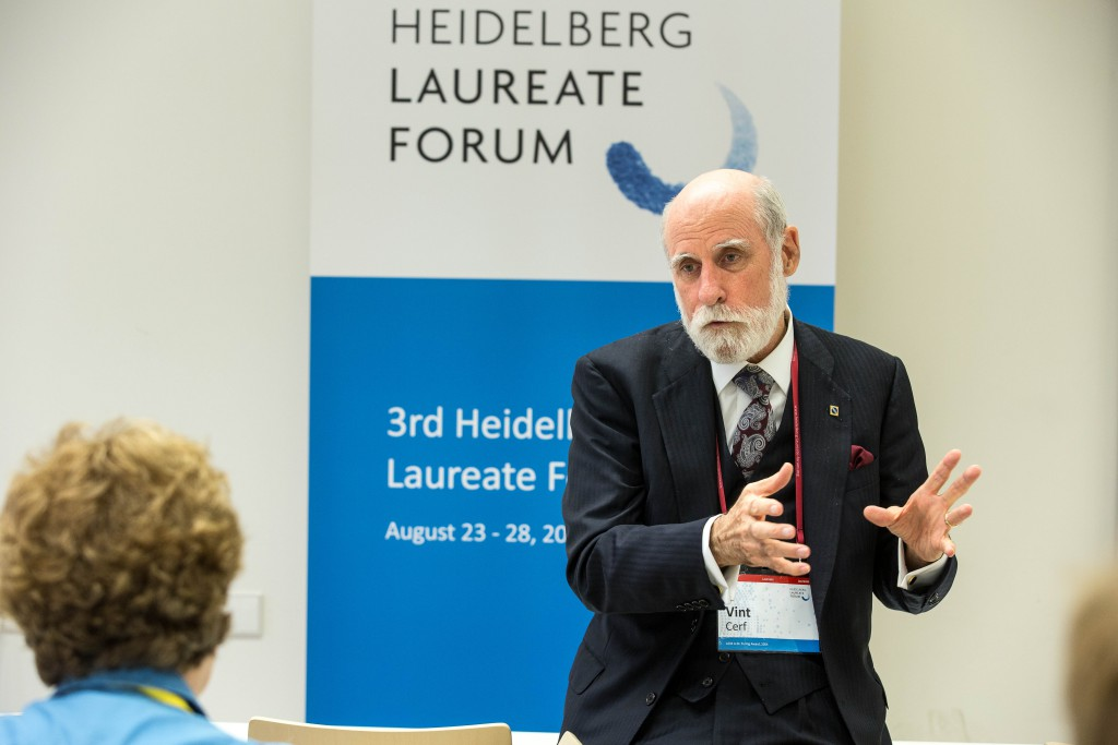 Vint Cerf während seines Vortrags beim #HLF15  ©HLFF//C.Flemming