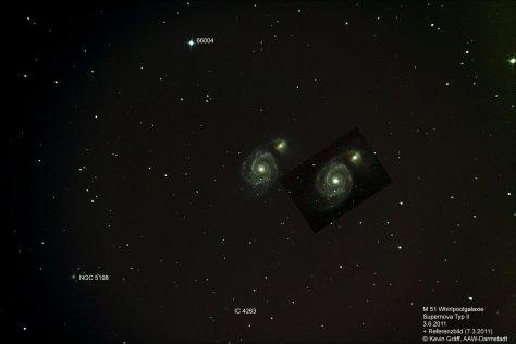 M51 Supernova+Referenzbild im Vergleich