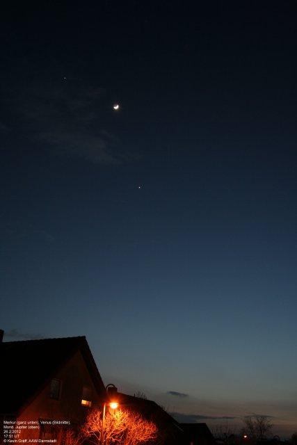 Merkur, Venus, Jupiter, Mond, Abenddämmerung 26.2.2012
