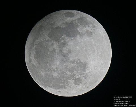 Mondfinsternis 25.4.2013 Ende Halbschatten