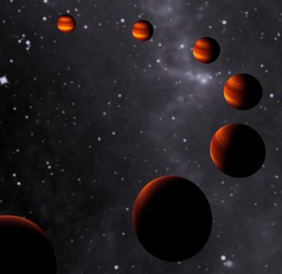Artist's impression of the changing phases of extrasolar planet CoRoT-1b. Credit: Leiden Observatory, Leiden University.