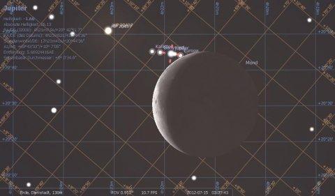 Jupiterbedeckung durch Mond am 15.7.2012, hier kurz vor Beginn, Quelle: Michael Khan mit der Freeware Stellarium