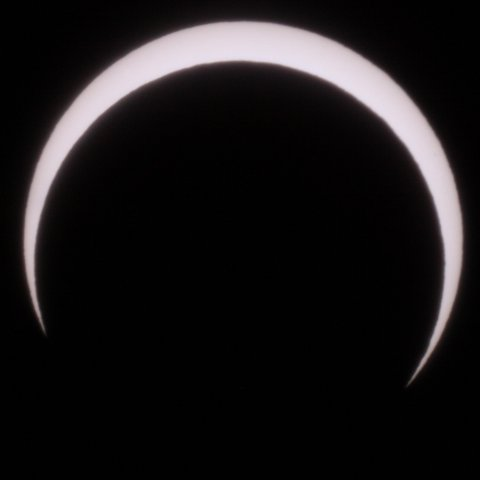 The Sun on May 21, 2012, 07:32 Japanese time. After annularity - the moon is already starting to leave ths Sun disc, (c) Michael Khan, 2012