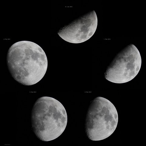Waxing moon in daily intervals from 31 January to 04 Feburay 2012, source: Michael Khan