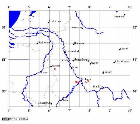 karte der aktuellen Erdbeben, Uni Koeln, 14.2.2011