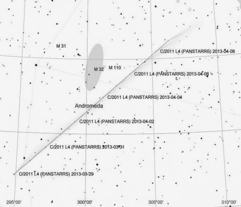 Path of Comet PANSTARRS through constellation Andromeda in early April 2013, source: G. Glitscher, AAW Darmstadt e.V.