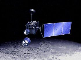 Hier klicken: Kaguya mit den 2 Mikrosatelliten, Quelle: JAXA