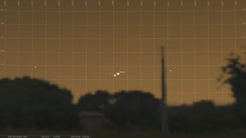 Conjunction of Mars and Mercury on 8 Feb. 2013, seen from Darmstadt around 18:30 CET, simulation with Stellarium