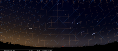 Mercury, Mars and Jupiter seen from Darmstadt on 10.08.2013, around 05:00 CEST (03:00 GMT), source: Michael Khan via Stellarium